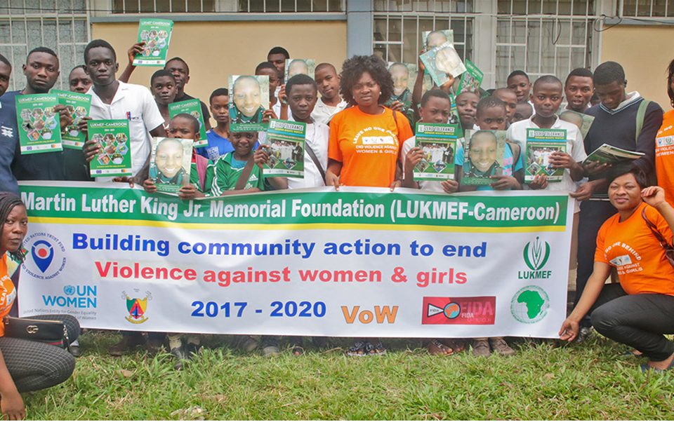 Group picture with banner