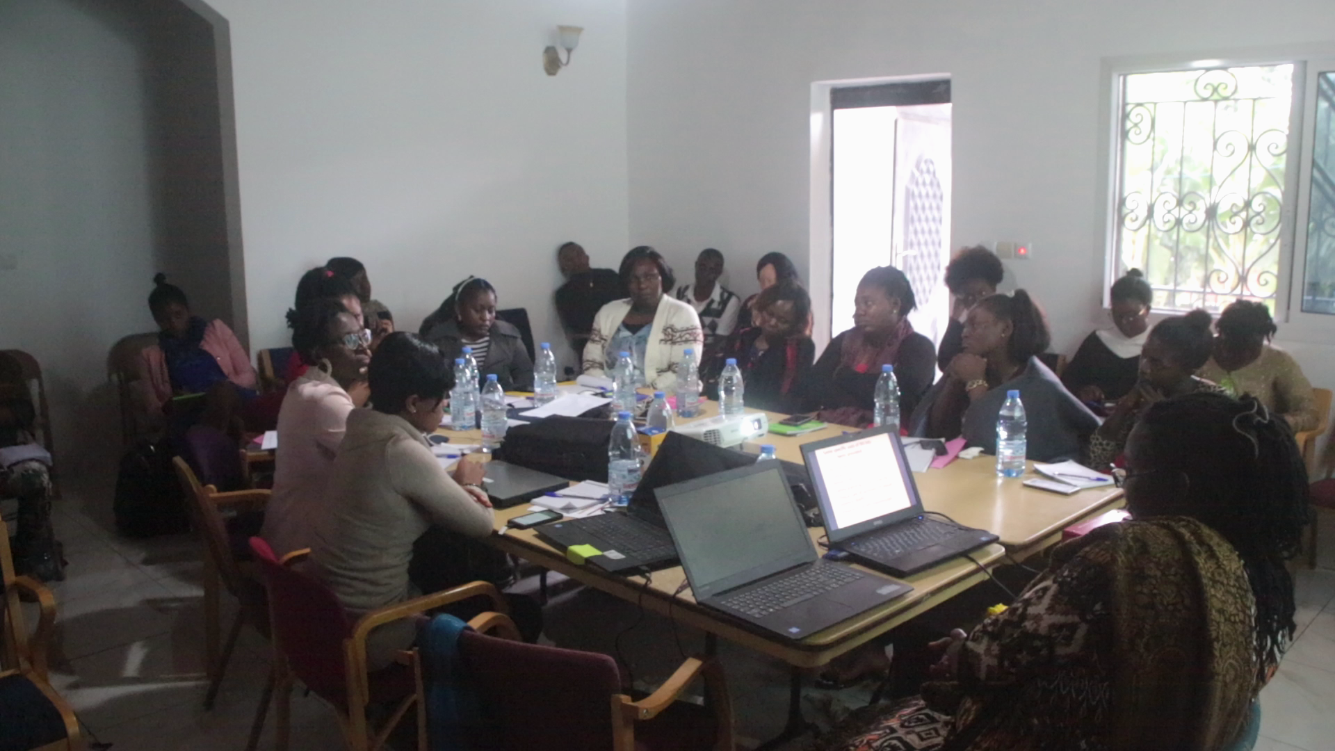 Participants at a GBV training.
